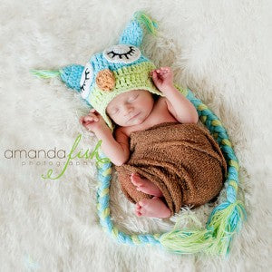 Berry Blue and Green Owl Crochet Baby Hat
