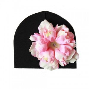 Black Cotton Beanie Baby Hat with Pale Pink