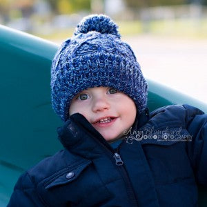 Blue Ice Baby Pom Pom Toddler Boy Hat