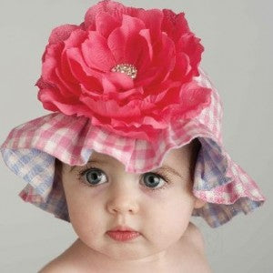 Girly Gingham Baby Sun Hat