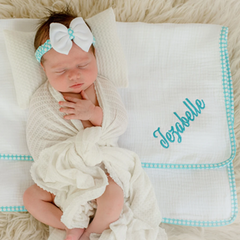 Personalized Baby Headband and Blanket