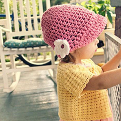 Knit Flower Cap for Toddlers