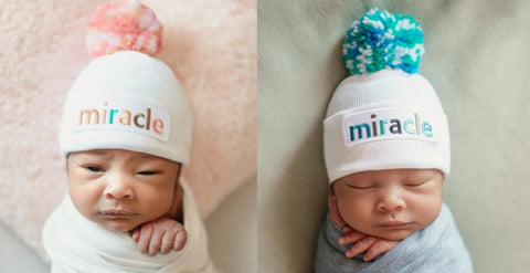 Matching boy and girl beanie