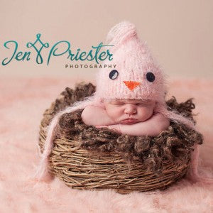 Pink Baby Bird Crochet Newborn Hat for Girls