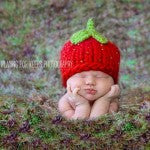 Strawberry Shortcake Newborn Crochet Beanie Hat