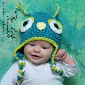 Sweet Crochet Owl Hat - Blue