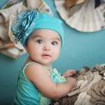 Tiny Teal Rose Baby Girl Hat