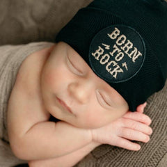 BORN TO ROCK Newborn Boy or Girl Hat - Gender Neutral Music Rock Hat - Black Newborn Hat icon