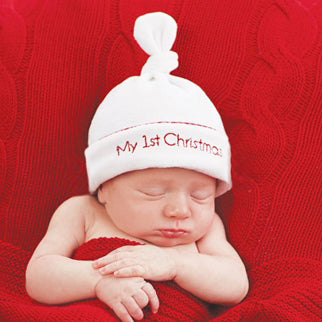 My 1st Christmas White Velour Hat with Red Lettering for Newborns