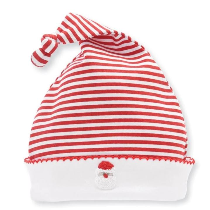 Classic Striped French Knot Baby Cap with Embroidered Santa - red and white stripes