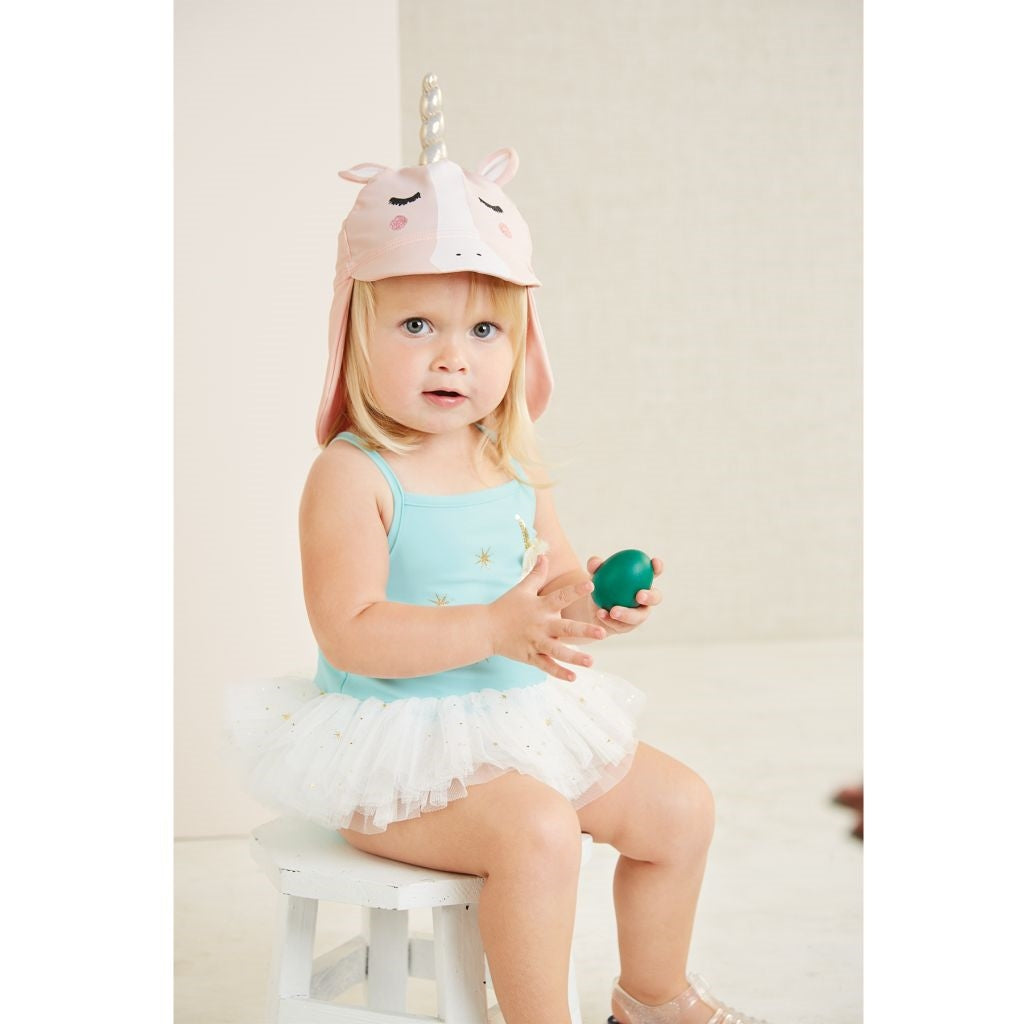 Unicorn Swim Hat for baby and toddler girls - swim material!