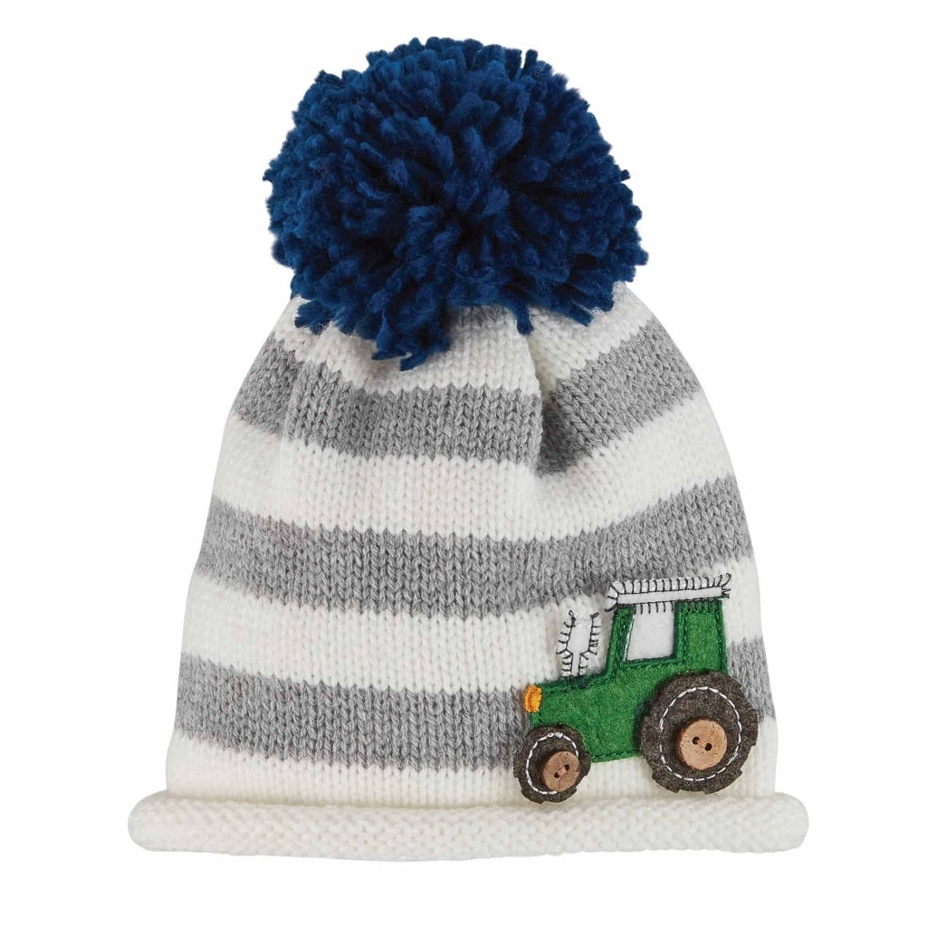 White and Grey Striped Knit Hat with Navy Blue Pom Pom and Green Felt Tractor