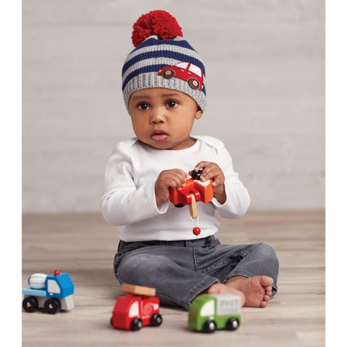 Navy and Grey Striped Knit Red Pom Pom and Red Felt Car Beanie