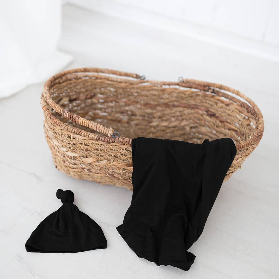 Black Knot Hat and Swaddle SET for Newborn Babies - Gender Neutral - Personalization Optional