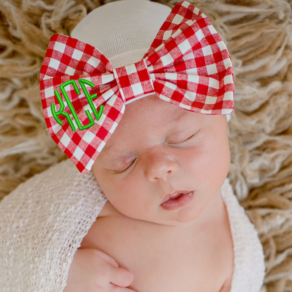 Christmas Red and White Gingham Check Monogrammed Bow Newborn Girl Hospital Hat