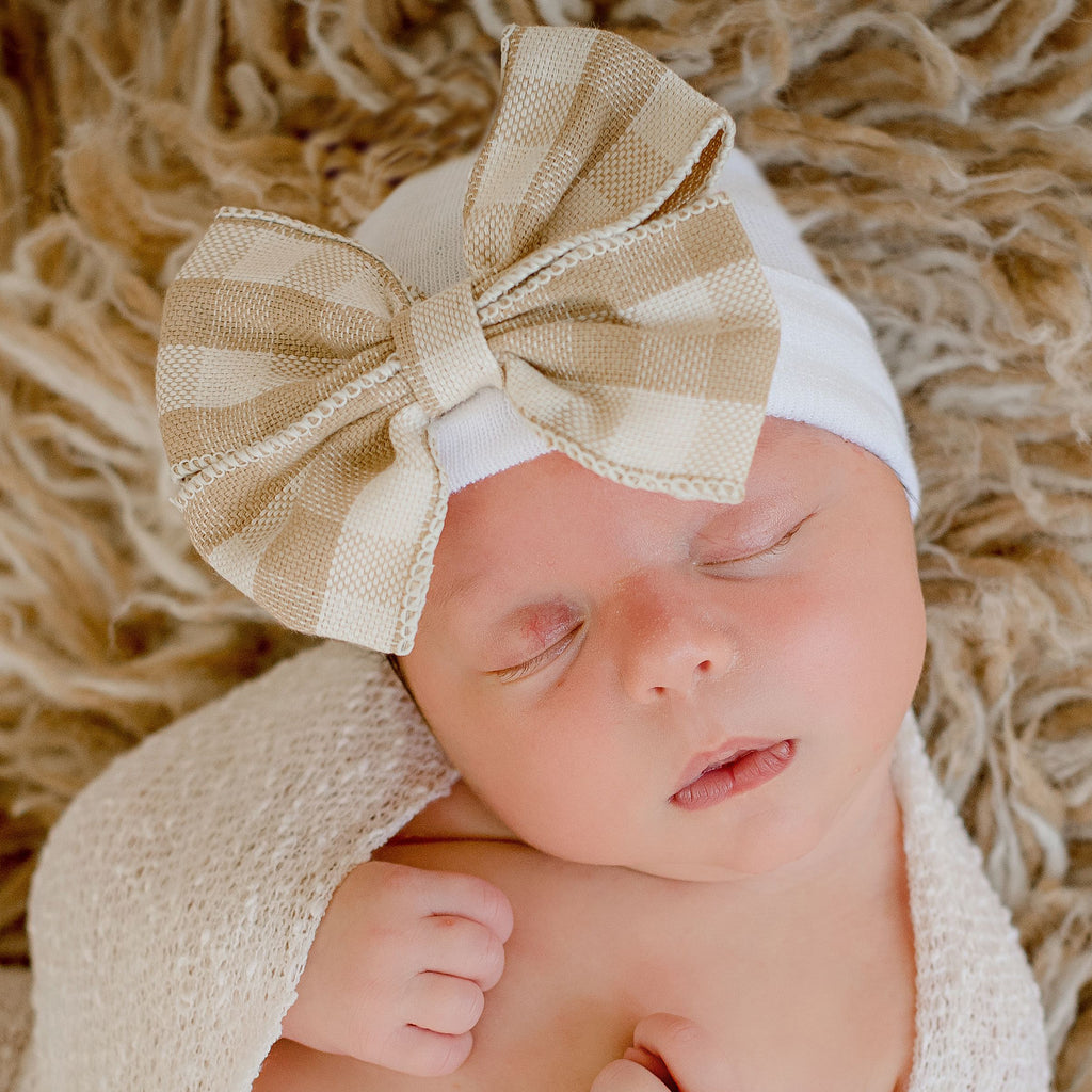 Taupe Buffalo Plaid Rustic Chic Newborn Girl Bow - Newborn Girl Hospital Hat