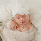 White Hat with Layered White Silk Flower with Pearl Rhinestone Center Newborn