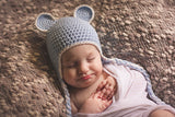 Sweet Baby Blue Bear Hat with Braids - Blue with White Trim