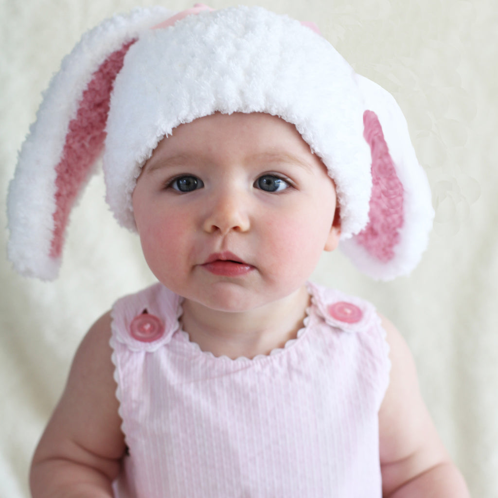 Bunny Baby Bop For Baby Girls Hat - White Fuzzy Bunny Hat with Pink Ears