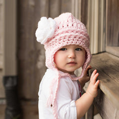 Pretty Aviator Flower Earflap Beanie for Baby and Toddler Girls - Baby Pink and White Rose icon