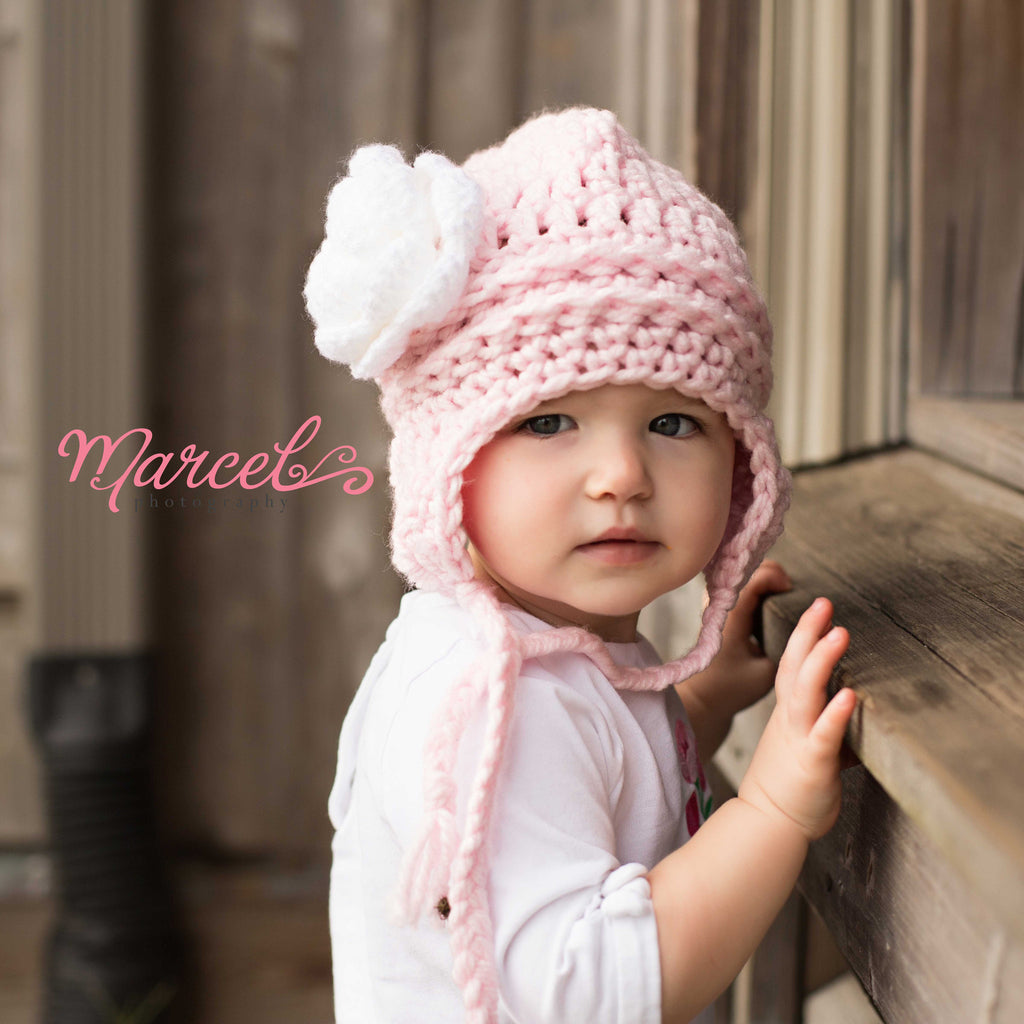 Pretty Aviator Flower Earflap Beanie for Baby and Toddler Girls - Baby Pink and White Rose