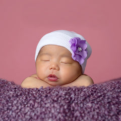 Sweet Plumeria Baby Girl Newborn Hospital Hat - Purple Flower icon
