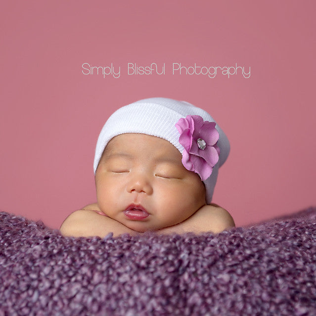 Sweet Plumeria Baby Girl Newborn Hospital Hat - Purple Flower