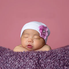 Hydrangea Baby Newborn Girl Hospital Hat - Pink, White and Purple flower colors icon