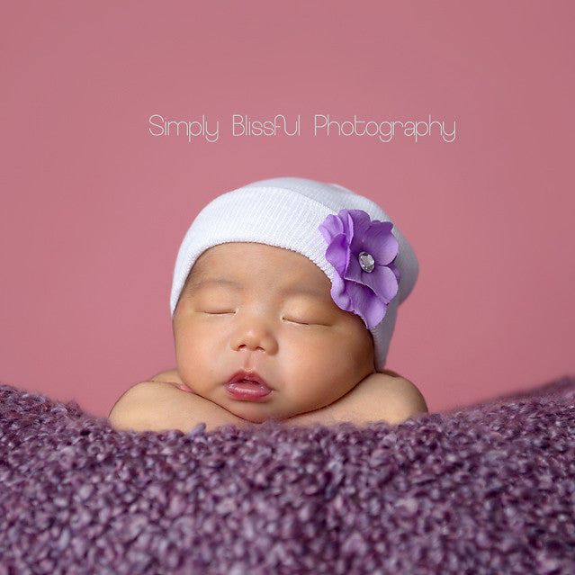 Hydrangea Baby Newborn Girl Hospital Hat - Pink, White and Purple flower colors