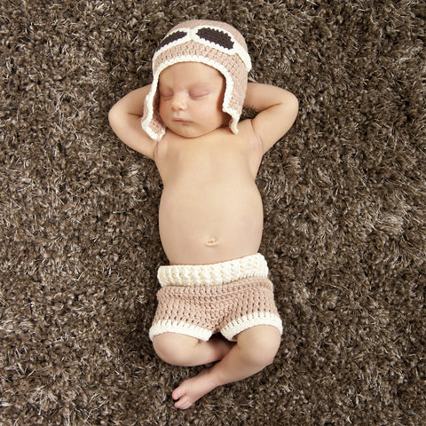 Up Up and Away Aviator Crochet Hat and Shorts Set - Newborn Boy