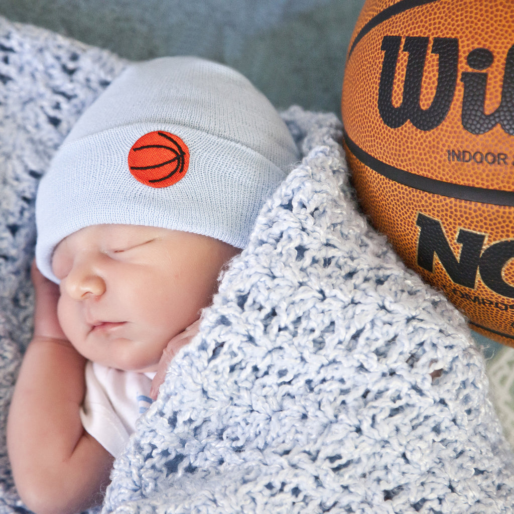 Basketball Blue Newborn Boy Hospital Hat