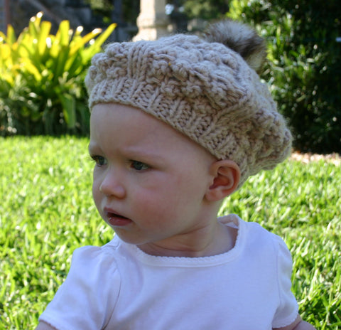 54527c3c Toddler Girl Beret Oatmeal Hat with Fuzzy Pom Pom | Toddler Crochet Hats