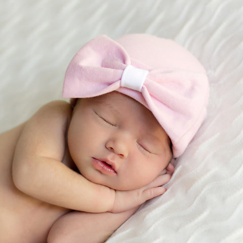 Organic Pink Big Bow Baby Girl Newborn Hospital Hat  c66d8bceb5c