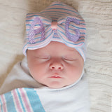 Big Initials Traditional Nursery Striped Big Bow Newborn GIRL hospital hat