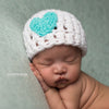 Ocean Blue Heart White Baby Girl Beanie