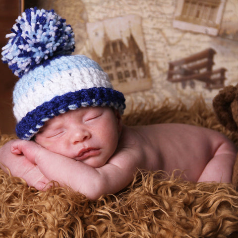 8a5bac18b Crochet Striped Baby Boy Blues Pom Pom Hat
