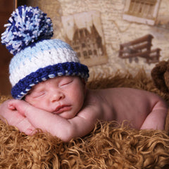 Crochet Striped Baby Boy Blues Pom Pom Hat