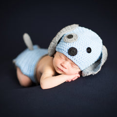 Baby Blue Puppy Dog Hat and Diaper Cover Set