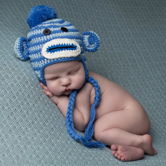 Striped Baby Boy Blue Sock Monkey Hat icon