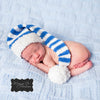 Blue and White Striped Stocking Baby Hat - Gender Neutral