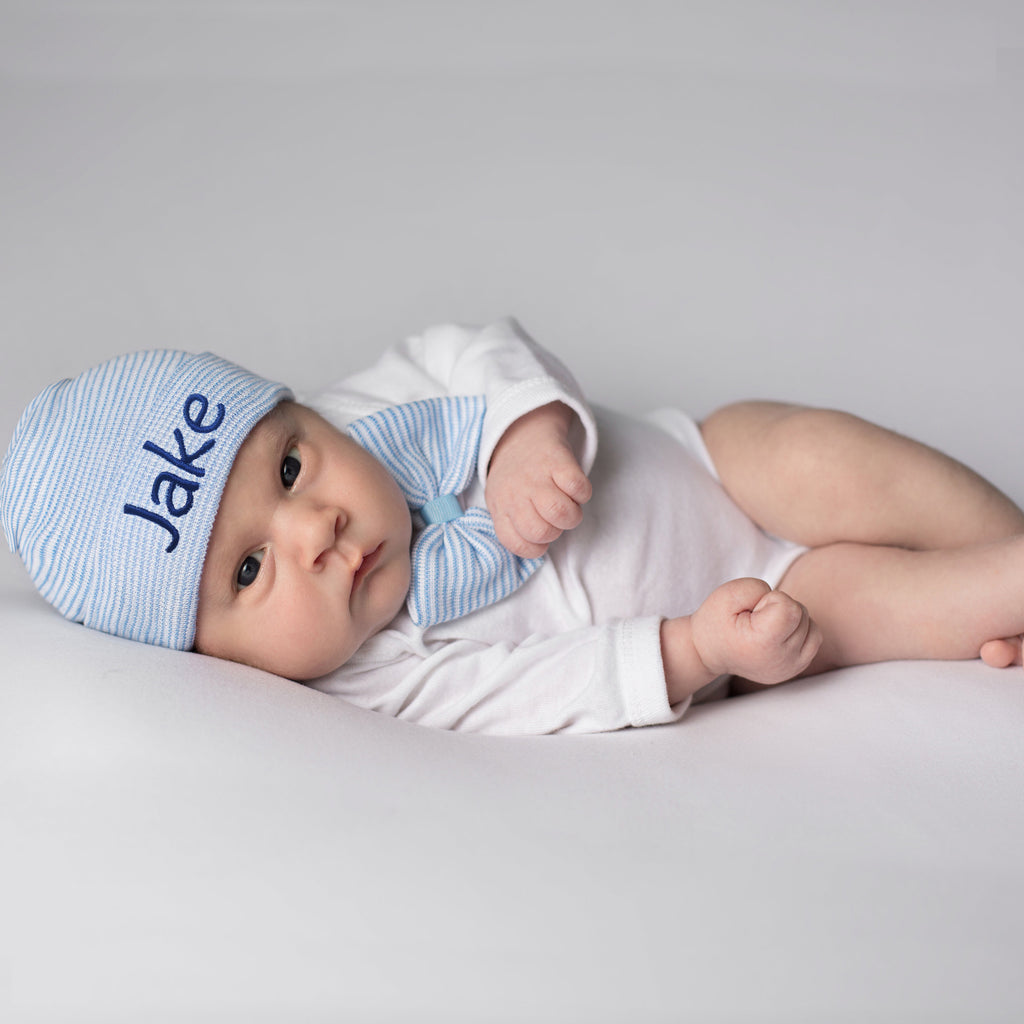 Classy Boys Bow Tie and Beanie SET - Newborn Boy Blue and White Striped Hospital Hat