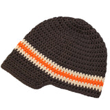 Dark Chocolate and Orange Crochet Visor Beanie Baby Boy Hat
