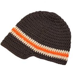 Dark Chocolate and Orange Crochet Visor Beanie Baby Boy Hat icon