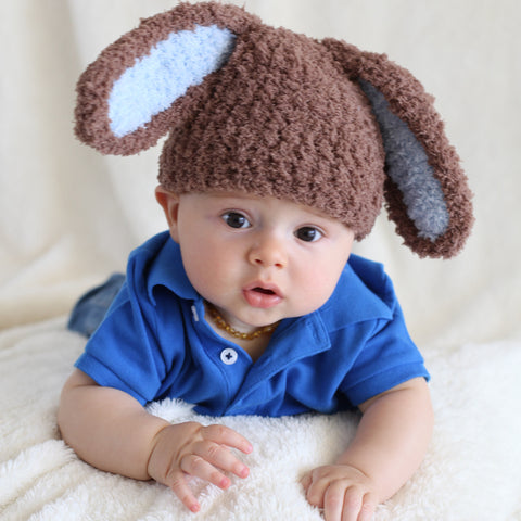 Brown and Blue Bunny Bop for Baby Boys Hat