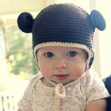 Organic Brown Crochet Baby Bear with Ears Animal Hat