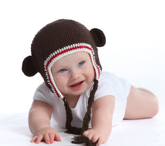 Sporty Organic Brown Baby Bear with Ears Animal Hat icon