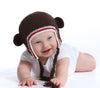 Sporty Organic Brown Baby Bear with Ears Animal Hat