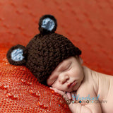 Organic Brown Chunky Sugar Bear Baby Boy Beanie Hat