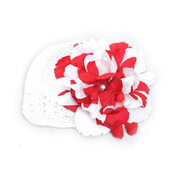Red and white mixed color flower white crochet hat icon