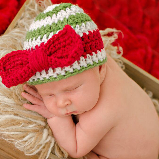 Red Christmas Bow Striped Christmas Baby Girl Hat